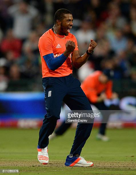 Chris Jordan of England celebrates dismissing David Miller of South Africa during the 1st KFC T20 International match between South Africa and...