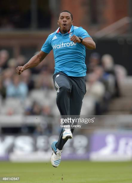 Chris Jordan of England celebrates dismissing Kumar Sangakkara of Sri Lanka during the 3rd Royal London One Day International match between England...