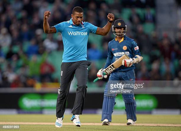 Chris Jordan of England celebrates dismissing Nuwan Kulasekara of Sri Lanka during the 1st Royal London One Day International match between England...