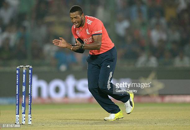 Chris Jordan of England celebrates dismissing Ross Taylor of New Zealand during the ICC World Twenty20 India 2016 Semi Final match between England...