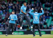 Chris Jordan of England celebrates taking the wicket of Dinesh Chandimal of Sri Lanka during the 1st Royal London One Day International match between...