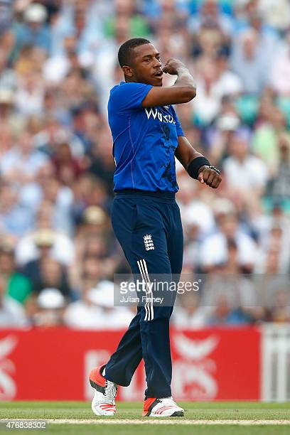 Chris Jordan of England celebrates taking the wicket of Grant Elliott of New Zealand during the 2nd ODI Royal London OneDay Series 2015 at The Kia...