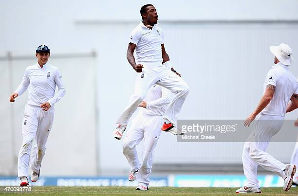 Chris Jordan of England celebrates taking the wicket of Jermaine Blackwood of West Indies during day five of the 1st Test match between West Indies...