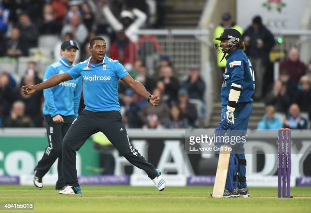 Chris Jordan of England celebrates the wicket of Lasith Malinga of Sri Lanka during the 3rd Royal London OneDay International match between England...