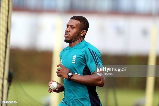 Chris Jordan of England during a training session at Old Trafford on September 6 2016 in Manchester England