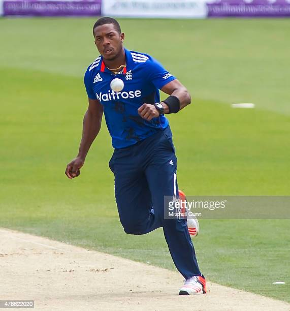 Chris Jordan of England fields the ball during the second ODI Royal London OneDay Series 2015 between England and New Zealand at Kia Oval on June 12...