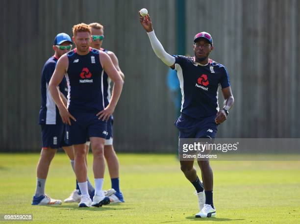 Chris Jordan of England in action during an England nets session ahead of the Twenty20 International between England and South Africa at Ageas Bowl...