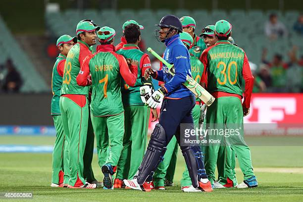Chris Jordan of England leaves the field after getting runout during the 2015 ICC Cricket World Cup match between England and Bangladesh at Adelaide...