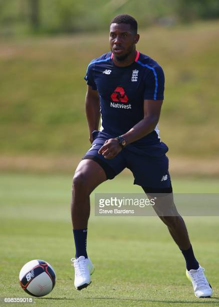 Chris Jordan of England plays football during an England nets session ahead of the Twenty20 International between England and South Africa at Ageas...