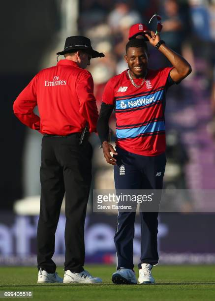 Chris Jordan of England smiles after bowling his spell during the 1st NatWest T20 International match between England and South Africa at Ageas Bowl...