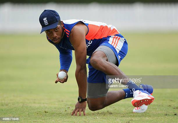 Chris Jordan of England takes part in a fielding drill during a nets session at Dubai Cricket Stadium on November 25 2015 in Dubai United Arab...
