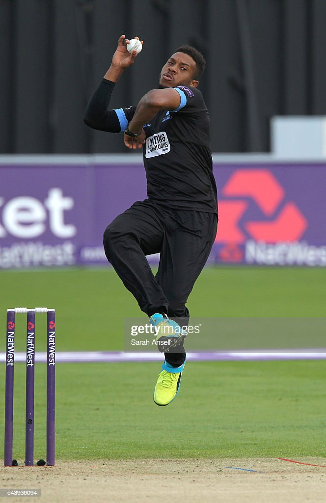 Chris Jordan of Sussex bowls during the NatWest T20 Blast match between Kent and Sussex at The Spitfire Ground on June 30, 2016 in Canterbury, England.