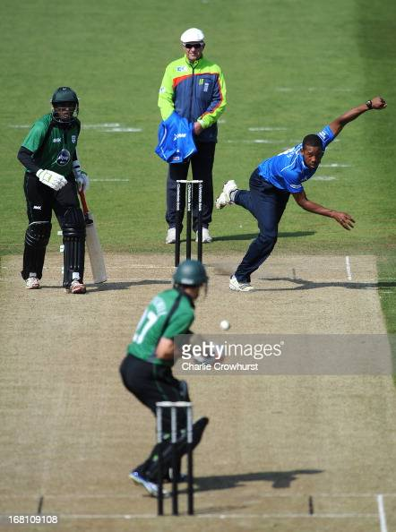 Chris Jordan of Sussex bowls during the Yorkshire Bank 40 League match between Sussex Sharks and Worcestershire Royals at The Brighton and Hove Jobs...
