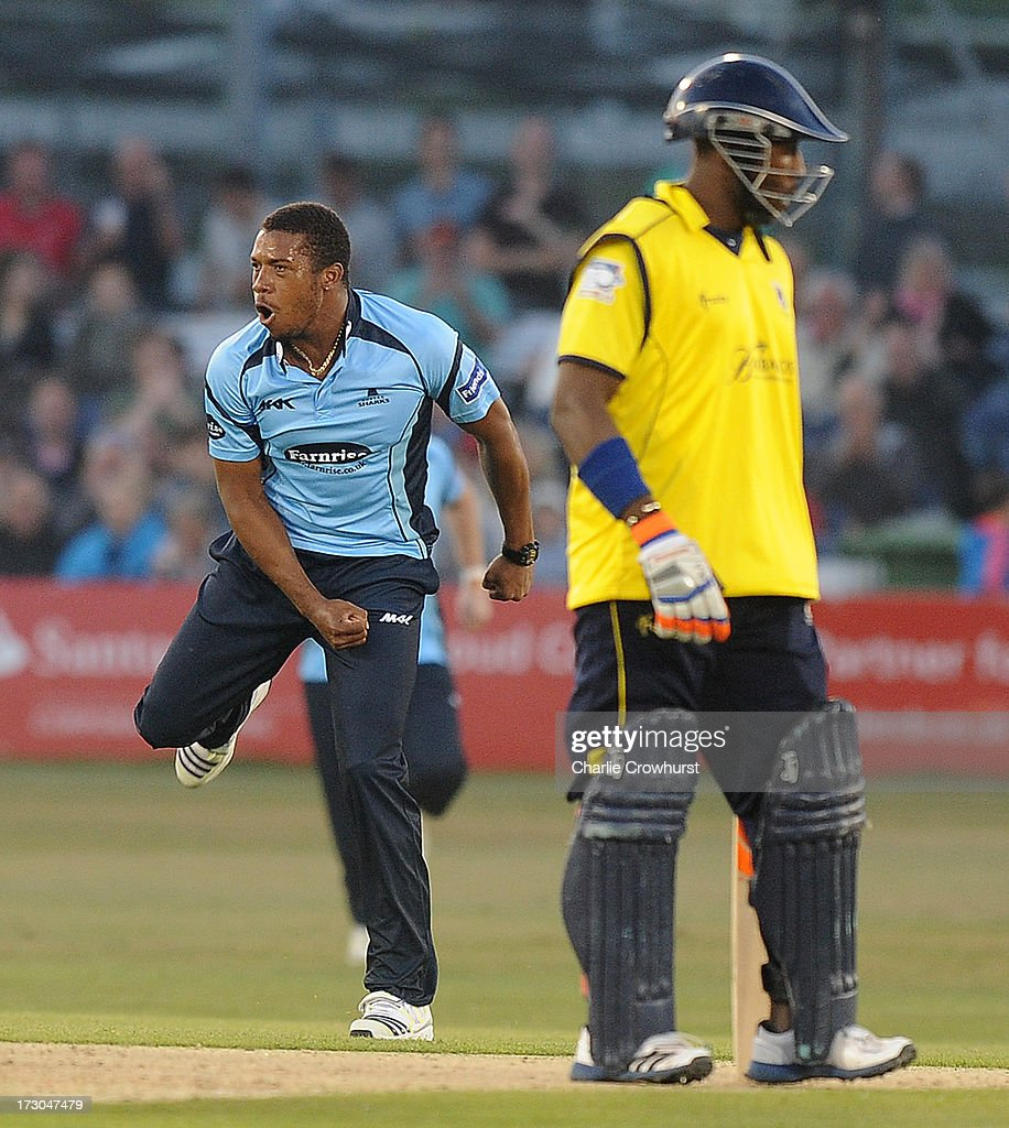 Chris Jordan of Sussex celebrates a wicket during the Friends Life T20 match between Sussex Sharks and Hampshire Royals at The Brighton and Hove Jobs County Ground on July 05, 2013 in Hove, England.