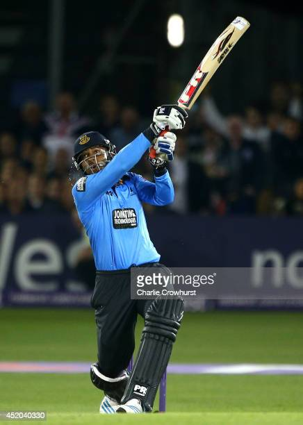 Chris Jordan of Sussex hits out during the Natwest T20 Blast match between Sussex Sharks and Kent Spitfires at TheBrightonAndHoveJobscom County...