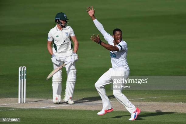 Chris Jordan of Sussex pleads unsuccessfully for a catch behind off Joe Clarke of Worcestershire during the third day of the Specsavers County...