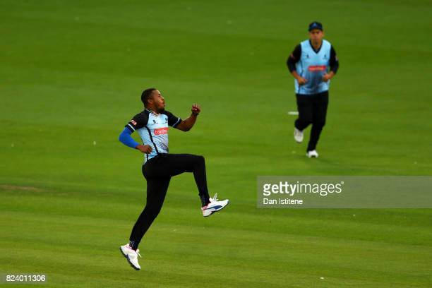 Chris Jordan of Sussex Sharks celebrates claiming the wicket of Brendon McCullum of Middlesex during the NatWest T20 Blast South Group match between...