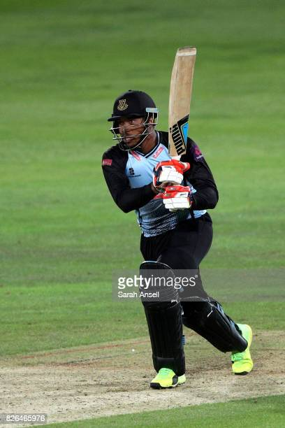 Chris Jordan of Sussex Sharks hits a boundary during the match between Kent Spitfires and Sussex Sharks at The Spitfire Ground on August 4 2017 in...