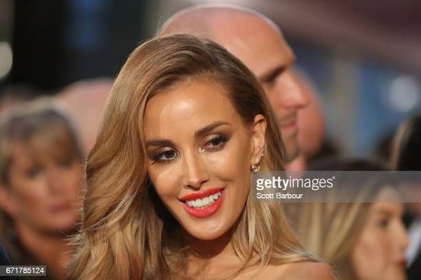 Chris Judd and Rebecca Judd arrive at the 59th Annual Logie Awards at Crown Palladium on April 23 2017 in Melbourne Australia