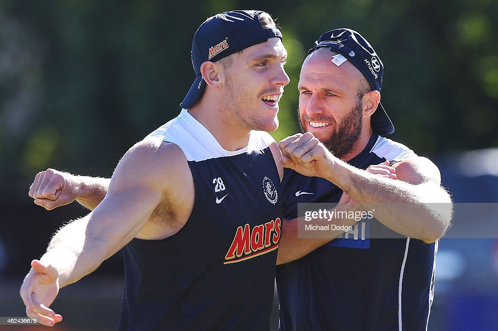 Chris Judd (R) and Tom Bell react during a Carlton Blues AFL pre-season training sessions on January 29, 2015 in Mansfield, Australia.
