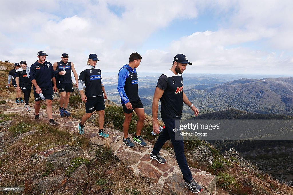 Chris Judd leads Blues players and coaches in their hike up Mount Buller during the Carlton Blues AFL training camp on January 28, 2015 in Mount Buller, Australia.
