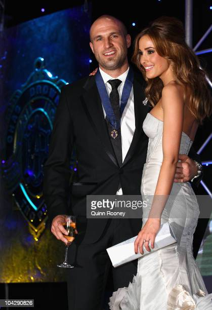 Chris Judd of the Blues and his partner Rebecca Twigley celebrate winning the 2010 AFL Brownlow Medal at the 2010 AFL Brownlow Medal at Crown...