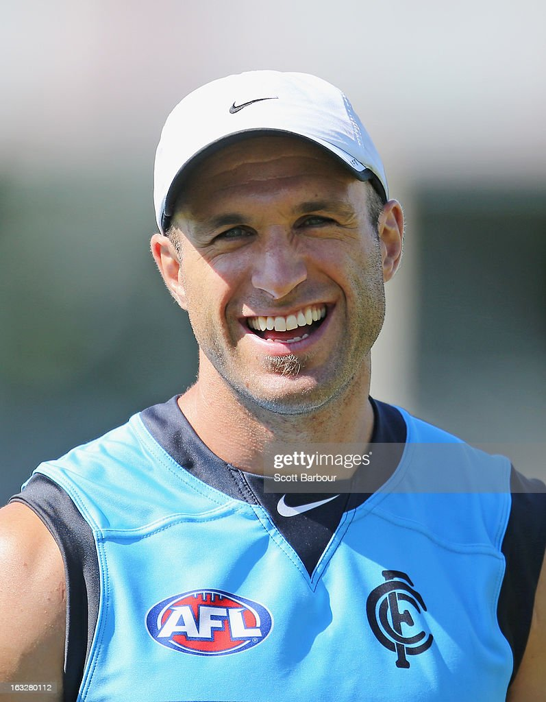 Chris Judd of the Blues laughs during a Carlton Blues AFL training session at Visy Park on March 7, 2013 in Melbourne, Australia.