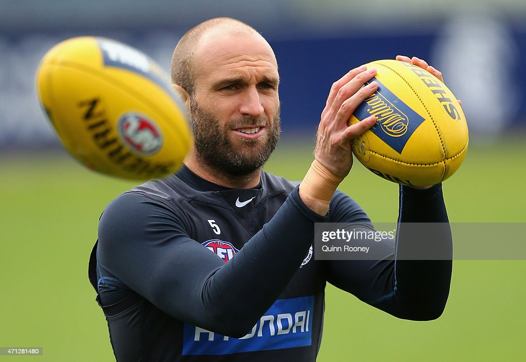 Chris Judd of the Blues marks during a Carlton Blues AFL media session at Ikon Park on April 27, 2015 in Melbourne, Australia.