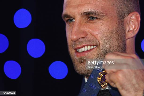 Chris Judd of the Blues poses with the 2010 AFL Brownlow Medal at the 2010 AFL Brownlow Medal at Crown Entertainment Complex on September 20 2010 in...