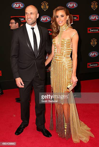 Chris Judd of the Carlton Blues and Rebecca Judd arrive at the 2015 Brownlow Medal at Crown Palladium on September 28 2015 in Melbourne Australia