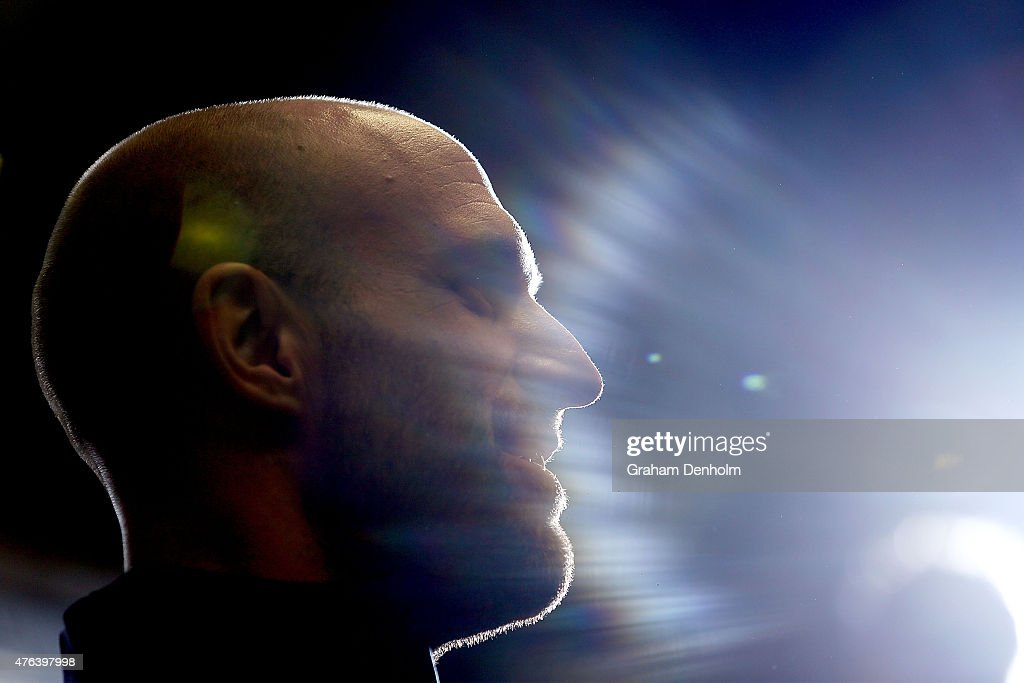 Chris Judd speaks to the media, announcing his retirement during a Carlton Blues AFL press conference at Ikon Park on June 9, 2015 in Melbourne, Australia. Judd injured his knee in Saturday's round 10 match at the MCG.