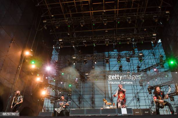 Chris Kael Jason Hook Jeremy Spencer Ivan Moody and Zoltan Bathory members of the band Five Finger Death Punch performs live on stage at Autodromo de...