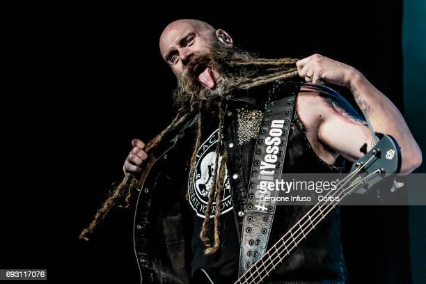 Chris Kael of American heavy metal band Five Finger Death Punch performs on stage at Alcatraz on June 6 2017 in Milan Italy