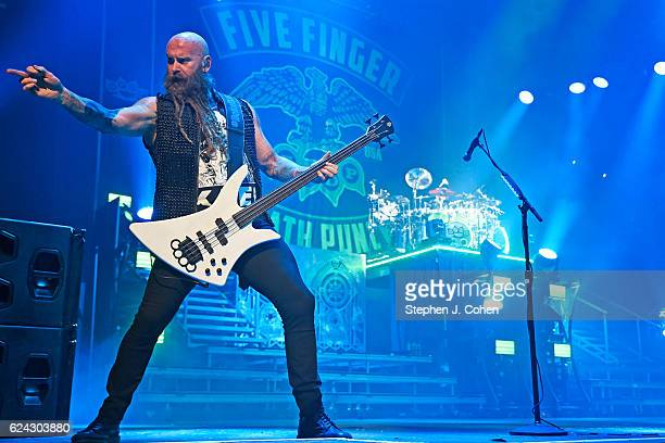 Chris Kael of Five Finger Death Punch performs at KFC YUM Center on November 18 2016 in Louisville Kentucky