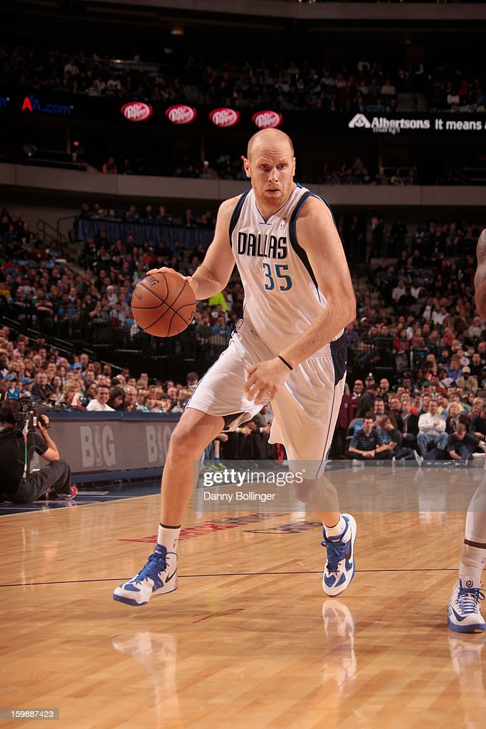 Chris Kaman #35 of the Dallas Mavericks brings the ball up court against the Oklahoma City Thunder on January 18, 2013 at the American Airlines Center in Dallas, Texas.