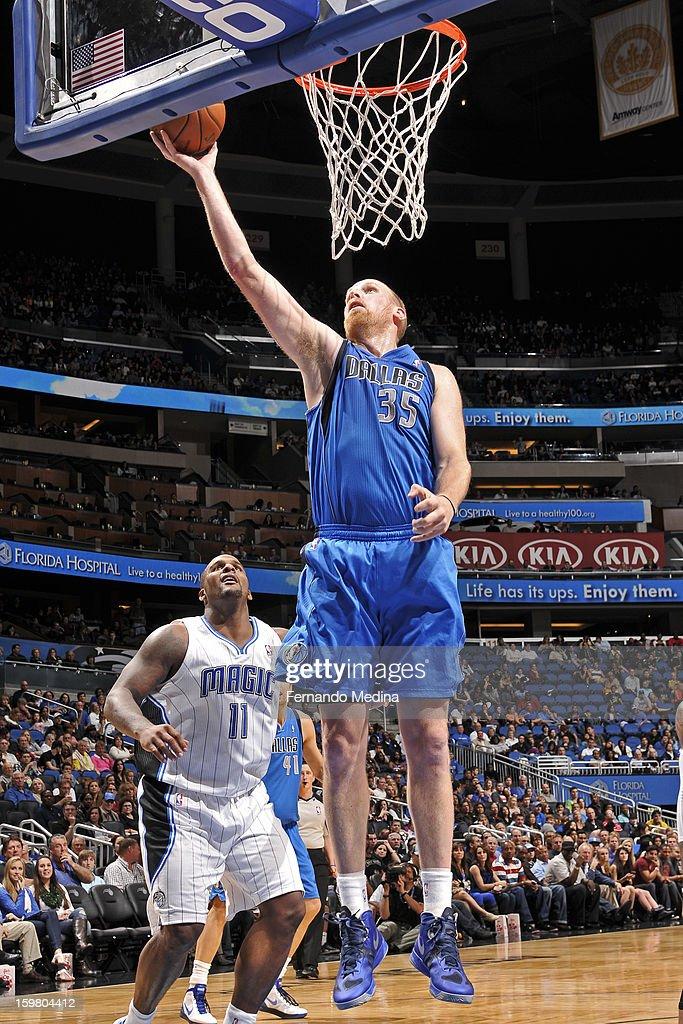 Chris Kaman #35 of the Dallas Mavericks drives to the basket against the Orlando Magic on January 20, 2013 at Amway Center in Orlando, Florida.