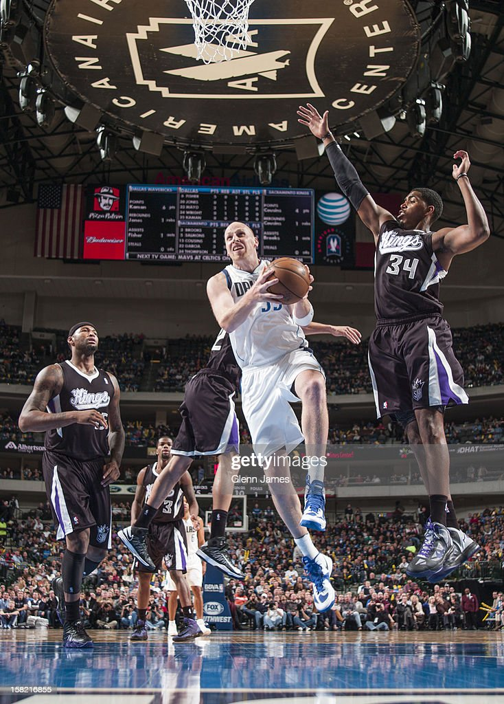 Chris Kaman #35 of the Dallas Mavericks grabs a rebound against the Sacramento Kings on December 10, 2012 at the American Airlines Center in Dallas, Texas.