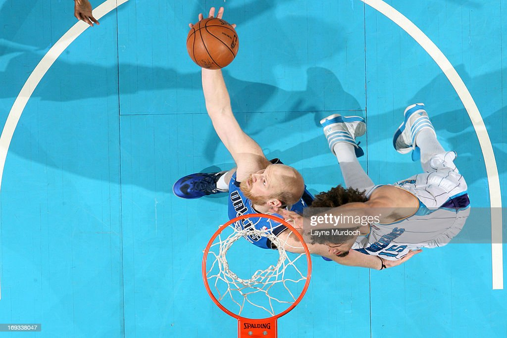 <a gi-track='captionPersonalityLinkClicked' href=/galleries/search?phrase=Chris+Kaman&family=editorial&specificpeople=201661 ng-click='$event.stopPropagation()'>Chris Kaman</a> #35 of the Dallas Mavericks grabs the rebound against the New Orleans Hornets on April 14, 2013 at the New Orleans Arena in New Orleans, Louisiana.