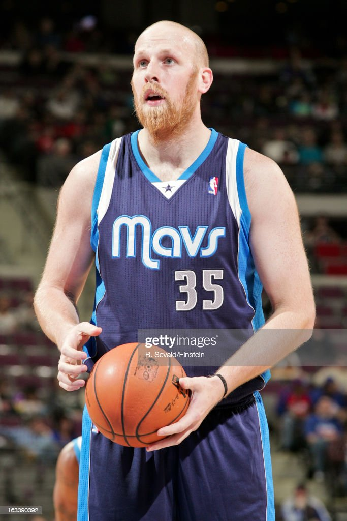 <a gi-track='captionPersonalityLinkClicked' href=/galleries/search?phrase=Chris+Kaman&family=editorial&specificpeople=201661 ng-click='$event.stopPropagation()'>Chris Kaman</a> #35 of the Dallas Mavericks shoots a free-throw against the Detroit Pistons on March 8, 2013 at The Palace of Auburn Hills in Auburn Hills, Michigan.