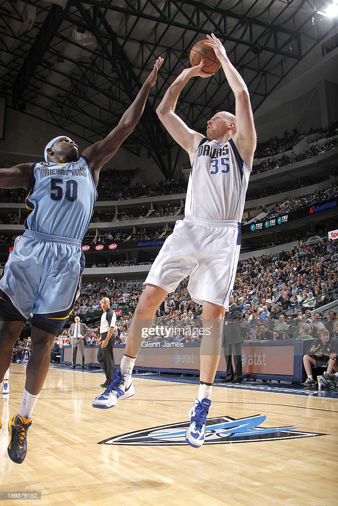 <a gi-track='captionPersonalityLinkClicked' href=/galleries/search?phrase=Chris+Kaman&family=editorial&specificpeople=201661 ng-click='$event.stopPropagation()'>Chris Kaman</a> #35 of the Dallas Mavericks shoots a jumper against <a gi-track='captionPersonalityLinkClicked' href=/galleries/search?phrase=Zach+Randolph&family=editorial&specificpeople=201595 ng-click='$event.stopPropagation()'>Zach Randolph</a> #50 of the Memphis Grizzlies on January 12, 2013 at the American Airlines Center in Dallas, Texas.