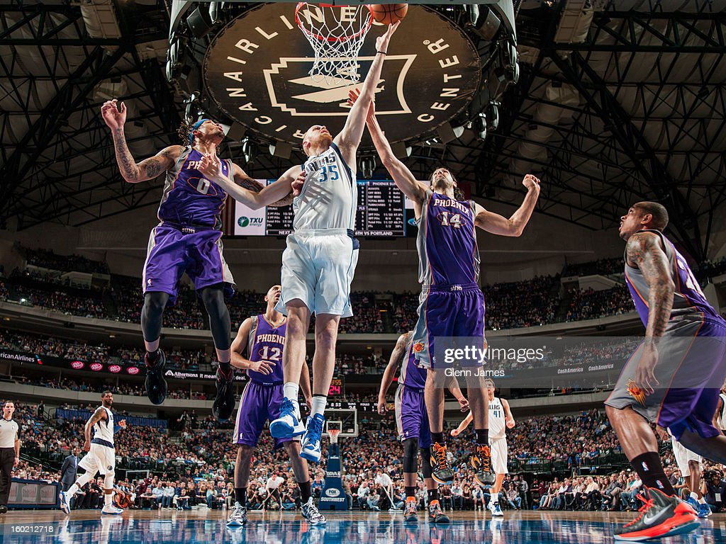 <a gi-track='captionPersonalityLinkClicked' href=/galleries/search?phrase=Chris+Kaman&family=editorial&specificpeople=201661 ng-click='$event.stopPropagation()'>Chris Kaman</a> #35 of the Dallas Mavericks shoots a layup against <a gi-track='captionPersonalityLinkClicked' href=/galleries/search?phrase=Luis+Scola&family=editorial&specificpeople=2464749 ng-click='$event.stopPropagation()'>Luis Scola</a> #14 and <a gi-track='captionPersonalityLinkClicked' href=/galleries/search?phrase=Michael+Beasley&family=editorial&specificpeople=4135134 ng-click='$event.stopPropagation()'>Michael Beasley</a> #0 of the Phoenix Suns on January 27, 2013 at the American Airlines Center in Dallas, Texas.