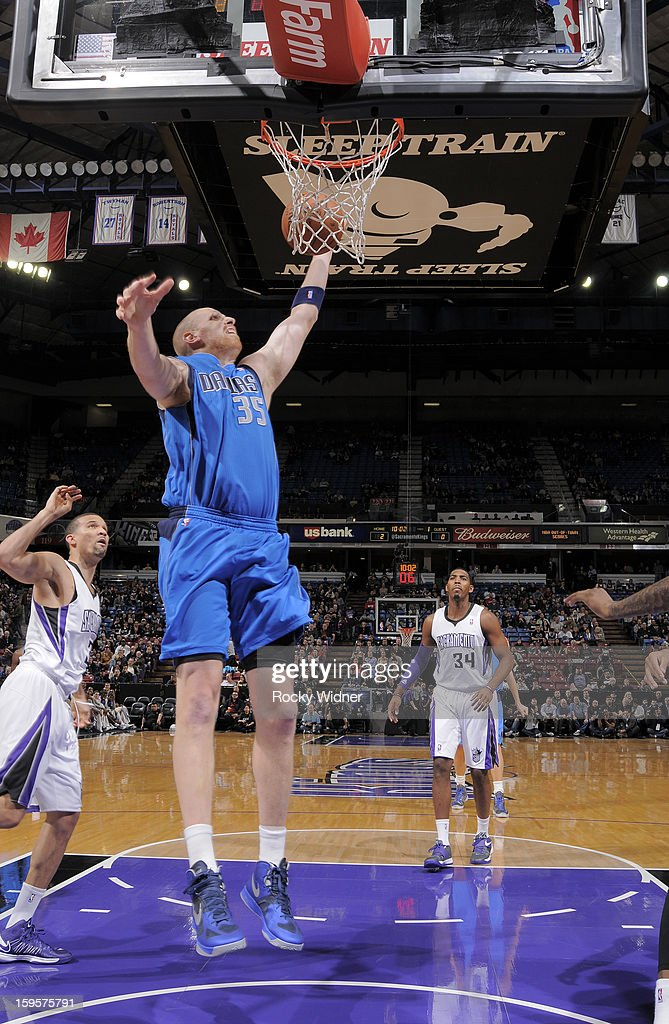 Chris Kaman #35 of the Dallas Mavericks shoots against the Sacramento Kings on January 10, 2013 at Sleep Train Arena in Sacramento, California.