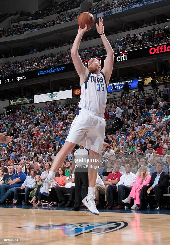 <a gi-track='captionPersonalityLinkClicked' href=/galleries/search?phrase=Chris+Kaman&family=editorial&specificpeople=201661 ng-click='$event.stopPropagation()'>Chris Kaman</a> #35 of the Dallas Mavericks shoots the ball against the Memphis Grizzlies on April 15, 2013 at the American Airlines Center in Dallas, Texas.