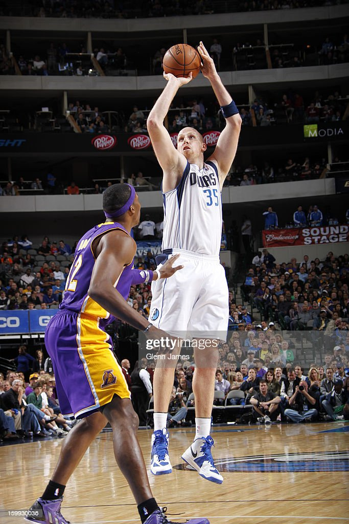 <a gi-track='captionPersonalityLinkClicked' href=/galleries/search?phrase=Chris+Kaman&family=editorial&specificpeople=201661 ng-click='$event.stopPropagation()'>Chris Kaman</a> #35 of the Dallas Mavericks takes a shot against the Los Angeles Lakers on November 24, 2012 at the American Airlines Center in Dallas, Texas.