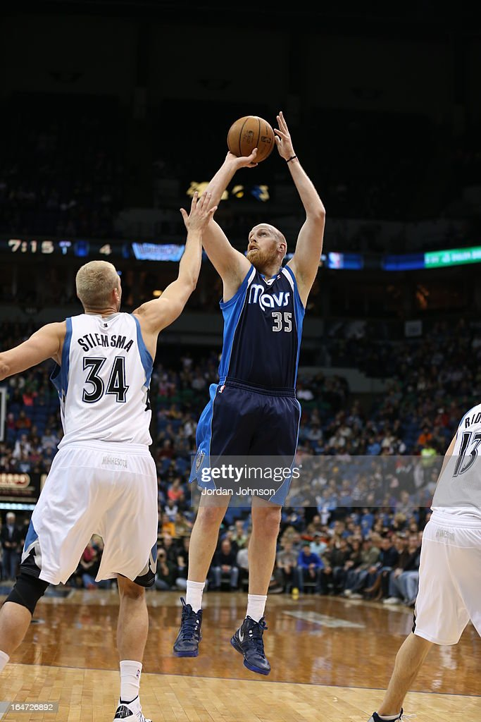 <a gi-track='captionPersonalityLinkClicked' href=/galleries/search?phrase=Chris+Kaman&family=editorial&specificpeople=201661 ng-click='$event.stopPropagation()'>Chris Kaman</a> #35 of the Dallas Mavericks takes a shot against the Minnesota Timberwolves on March 10, 2013 at Target Center in Minneapolis, Minnesota.