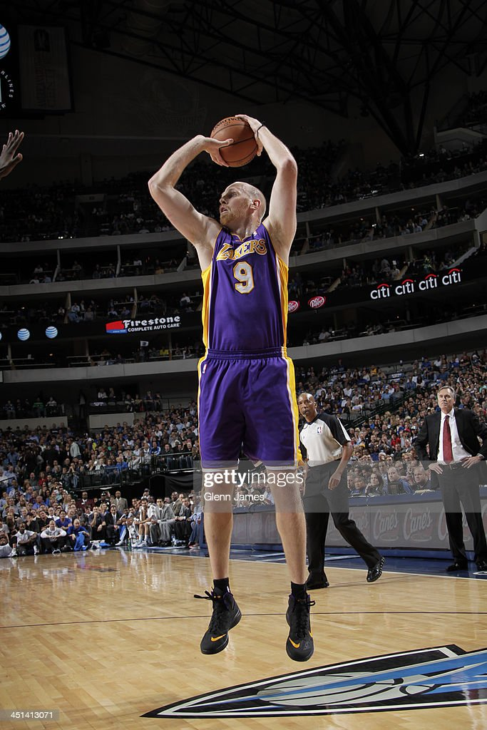 <a gi-track='captionPersonalityLinkClicked' href=/galleries/search?phrase=Chris+Kaman&family=editorial&specificpeople=201661 ng-click='$event.stopPropagation()'>Chris Kaman</a> #9 of the Los Angeles Lakers shoots the ball up court against the Dallas Mavericks on November 5, 2013 at the American Airlines Center in Dallas, Texas.