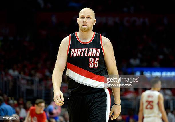Chris Kaman of the Portland Trail Blazers is seen during Game One of the Western Conference Quarterfinals during the 2016 NBA Playoffs at Staples...