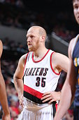 Chris Kaman of the Portland Trail Blazers looks on during the game against the Utah Jazz on October 9 2014 at the Moda Center Arena in Portland...