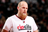 Chris Kaman of the Portland Trail Blazers stands on the court during a game against the Utah Jazz on April 11 2015 at the Moda Center Arena in...