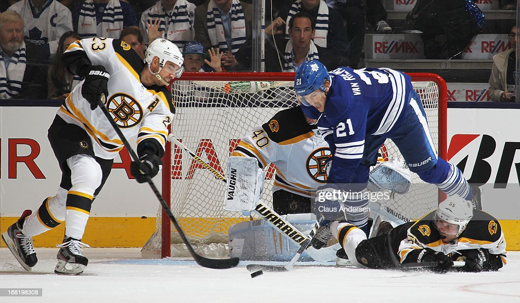 Chris Kelly #23 of the Boston Bruins clears the puck away from James van Riemdyk #21 of the Toronto Maple Leafs in Game Three of the Eastern Conference Quarterfinals during the 2013 Stanley Cup Playoffs on May 6, 2013 at the Air Canada Centre in Toronto, Ontario, Canada. The Bruins defeated the Leafs 5-2 to take a 2-1 series lead.